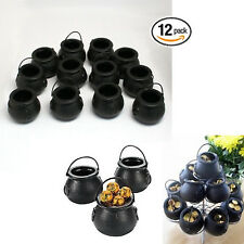 Witch's Mini Black Cauldron Halloween Plastic Kettles Candy Holders 12 Pieces