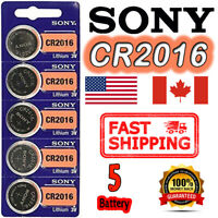 5 Pieces SONY CR2016 Button Cell Lithium Battery 3V. ** EXP. 2028 ** FREE RETURN