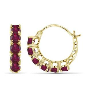 Delicate 1.50Ct Round Cut Red Ruby 5 Stone Hoop Earrings 14K Yellow Gold Finish