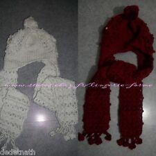 lot 2 ensembles Bonnet écharpe cache oreille 3 en 1 mode chic style laine neuf