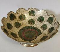 """Vintage Enameled Brass Bowl Green Peacocks Scalloped Edge 8.75"""" Dia India"""