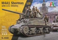 Italeri 6568 WWII M4A1 SHERMAN Tank with U.S. infantry plastic model kit 1/35