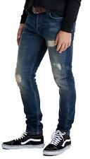 ONLY & SONS Jeans Mens Loom Slim Fit Narrow Leg Faded Ripped Denim Pants Blue