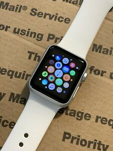 Apple Watch 38mm Silver Aluminum Case White Sport Band *Image Burn, Works*