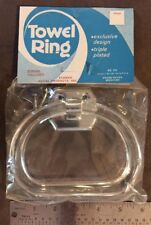 CHROME Metal & Clear Plastic Acrylic Lucite Towel Ring Bar Holder Rack Stirrup