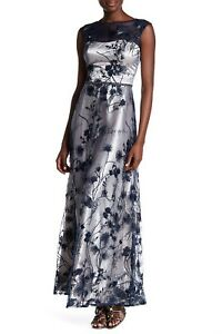 NWT $398 LM Collection Floral Mesh Formal Prom Dress Gown Navy Size 8 BEAUTIFUL!