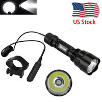 Rechargeable 5000lm XMLT6 White/Green LED Tactical Flashlight Torch+Switch+Mount