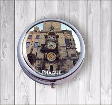 SOUVENIR FROM PRAGUE ASTRONOMICAL CLOCK PILL BOX ROUND -vgf4Z