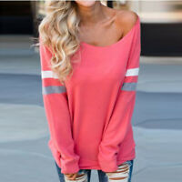 Fashion Womens Long Sleeve Pullover Splice Blouse Solid Sexy Clothes Shirt Tops