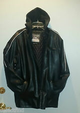 YOUNG MEN'S FAUX LEATHER HOODIE MOTORCYCLE COAT JACKET~NEW~SIZE LARGE OR 14-16