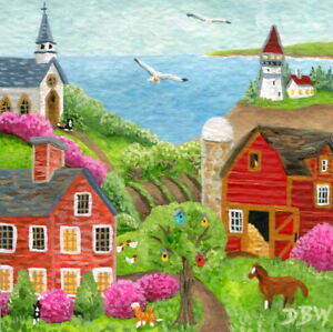 original mini art painting animals cats horse farm barn church naive lighthouse