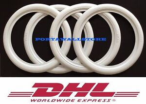 "R15 X2"" HOT ROD WHITE WALL TIRE TRIM RUBBER PORT A WALLS SET4 VW BUG BEETLE #193"