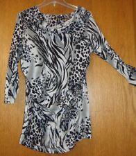 Woman's Jr M - B&W Animal Print TOP - Relativity - Sheer mesh - Cowl neck - NICE