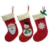 3Pcs Christmas Stockings Sock Santa Claus Candy Gift Bag Xmas Tree Hanging Decor