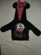 WDW MINNIE MOUSE BLACK PULLOVER SWEATSHIRT ATTACHED EARS & BOW GIRLS 6MO NEW W/T