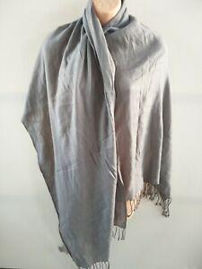 Womens Tie Rack London grey fringe wool mix scarf pashmina shawl