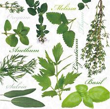 "Paper Luncheon Napkins 2 x 20pcs 13""x13"" Kitchen Herbs, Melisa, Basil, Thyme"