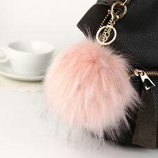 Fashion Handbag Charm Cell Phone Car Tassel PomPom Ball Key Ring Faux Rabbit Fur