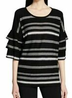 Calvin Klein Womens Blouse Black Size XS Striped Tiered Ruffle Sleeve $79- 210