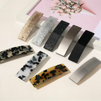 Lady Girls Leopard Marbling Barrette Square Duckbill Spring Hair Clip Clamp Pin