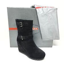 Women's Prada Milano Wedge Mid Calf Boots Shoes Sz 37.5 EU/6.5 B Black Suede T13