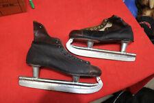 Vintage Olympic Mid Century Ice Skates Black Boots (Size 10) on Blades