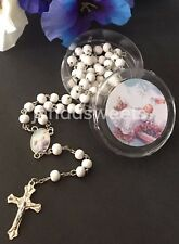 12-Baptism Party Favors White Rosary Boy Girl Recuerdos De Bautismo Christening