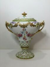 """Antique Royal Trianon Hand Painted Floral & Gold Urn Vase Covered Pot, 14"""" Tall"""