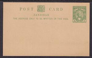 Zanzibar H&G 5 mint 1897 ½a yellow green on buff Postal Card