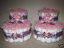 pink leopard and lavender Baby Booties Diaper Cakes