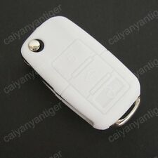 Cool White Silicone Protective Cover Hold Bag VW Remote Key Shell FOB 3 Buttons