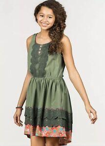 Matilda Jane Peaceful Plains Green Lace Tank Dress Pockets Size 10 NWT