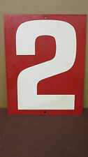Vintage Red Two-Sided 2/4 Tin Metal Gas Station Price Number Sign  S59
