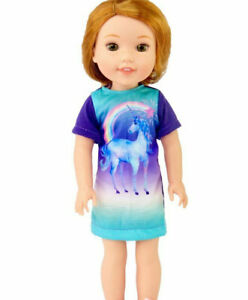 Unicorn Nightgown Made to fit 14.5 Wellie Wishers Doll