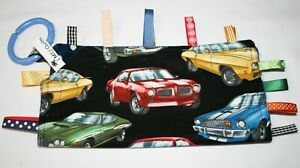 Taggie Blanket, Taggy, security blanket, cars minky backing