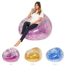 Outdoor Confetti Glitter Inflatable Lounger Lazy Bag Air Sofa Waterproof Rose...