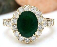 2.86 Carat Natural Emerald 14K Solid Yellow Gold Diamond Ring