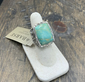 Barse Jacquard Ring-Turquoise- Silver Overlay- 7.75- NWT