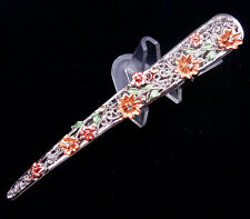Tibetan Tribal Style Lady's Hair Clip Gorgeous Beads & Flower Blossoms #08011607