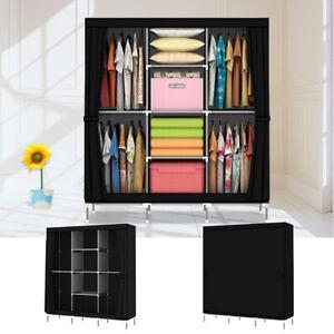 Large Portable Clothes Closet Canvas Wardrobe Storage Organizer with Shelves NEW
