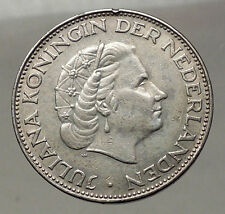 1963 Netherlands Kingdom Queen JULIANA 2½ Gulden Authentic Silver Coin i57757