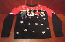 WOMEN'S ALL POINTS PEACE SNOWMAN SANTA UGLY CHRISTMAS PARTY SWEATER GAUDY SIZE S