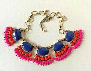 J.CREW Gold tone FAN FRINGE statement necklace Purple/hot pink/neon orange $128