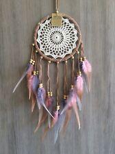 Handmade Light Brown 16.5cmX55cm Crochet Web Dream Catcher Multi Colour Feathers