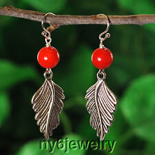 Red Coral, Leaf Sterling Silver Earring 2.25 (ER57)a