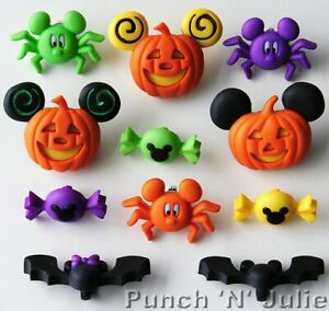 Mickey and Minnie Halloween Disney Pumpkin Bat Spider Sweets Dress It Up Buttons