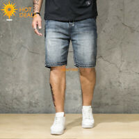 Summer Men's Stretch Denim Shorts Distressed Loose Retro Short Jeans Plus Size