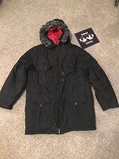 Jordan 550 Down Puffer Coat Jacket Size Medium Black Faux Fur