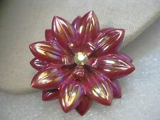 Vintage Red Iridescent Floral Blossom Brooch, A.B. Rhinestone, 1950's, BOHO