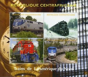 Central African Rep 2011 CTO Trains of North America 4v M/S Railways Rail Stamps